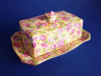 Vintage Grimwades Royal Winton 'English Rose' Chintz Butter Dish c1951 (Sold)